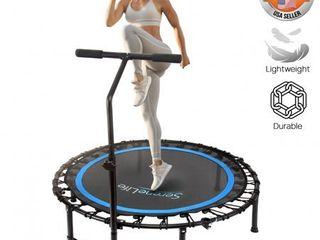 Serenelife SlElT418   Pro Aerobics Fitness Trampoline   Portable Gym Sports Trampoline with Adjustable Handrail