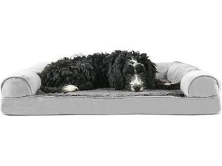 FurHaven Pet Dog Bed Orthopedic Ultra Plush Sofa Style Couch Pet Bed for Dogs   Cats  Gray  large