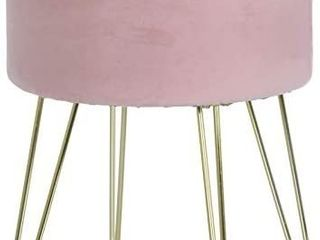 Ornavo Home Modern Round Velvet Storage Ottoman Foot Rest Stool Seat with Gold Metal legs   Tray Top Coffee Table   Blush