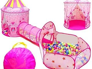 lOJETON 3pc Girls Princess Fairy Tale Castle Play Tent  Crawl Tunnel   Ball Pit with Basketball Hoop for Kids Toddlers  Indoor   Outdoor Playhouse RETAIl PRICE 104