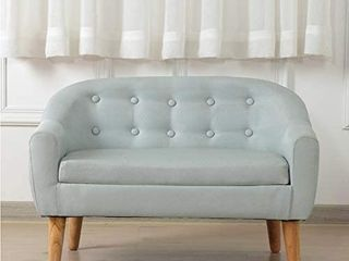 Kids Sofa linen Fabric 2 Seater Upholstered Couch Perfect for Children Gift 30 Inch   Sage  RETAIl PRICE 129 99