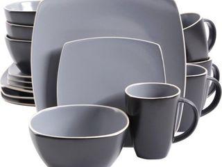 Gibson Home Soho lounge Matte 16 Piece Dinnerware Set  Gray Black   12 50  length 12 50  Width Dinner Plate  7 75  length 7 75  Width Dessert Plate  6 50  Diameter Bowl  14 4 fl oz Mug   Stoneware   D  RETAIl PRICE 79
