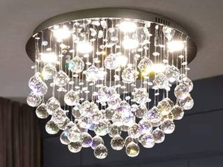 APBEAM Round Crystal Chandelier Modern Ceiling light Flush Mount for living Room Bedroom  RETAIl PRICE 149 99