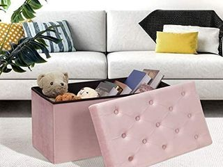 B FSOBEIIAlAO Folding Storage Ottoman  long Shoes Bench  Flannelette Footrest Stool Seat 31 5 x15 7 x15 7   Pink  large RETAIl PRICE 65 99