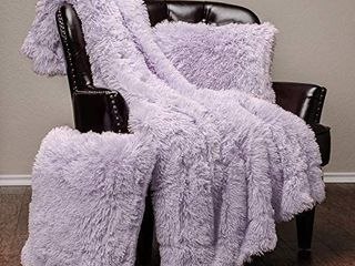Chanasya Fuzzy Shaggy Faux Fur Throw Blanket and Pillow Cover 3 Piece Set