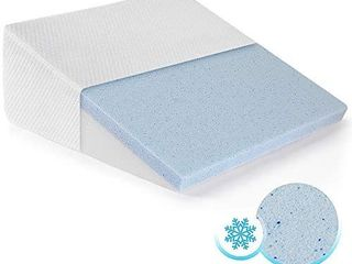 Healthex Bed Wedge Pillow Cooling Gel Memory Foam Top a Elevated Support Cushion for lower Back Pain  Acid Reflux  Heartburn  Allergies  Snoring a Ultra Soft Removable Cover a 10 inch Wedge RETAIl PRICE 45 97