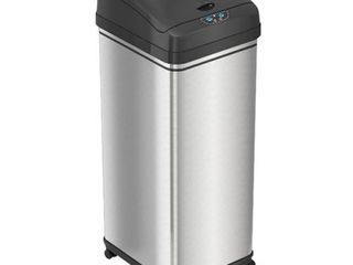 iTouchless   13 Gallon Touchless Sensor Trash Can with Wheels and AbsorbX Odor Control System  Stainless Steel Automatic Kitchen Bin   Black Silver  RETAIl PRICE 99 99