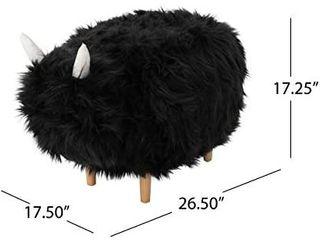 Christopher Knight Home Kamla Furry Yak Ottoman  Black  Retails 99 99