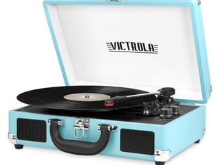 Victrola Bluetooth Portable Suitcase Record Player with 3 speed Turntable   Turquoise  RETAIl PRICE 45 39   NO CHARGER