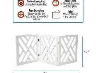 White Pet Store Wood Crisscross Top Dog Pet Gate 3 Panel Expandable Dog Fence RETAIl PRICE  43