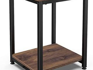Homemaxs Nightstands Rustic End Table  2 Tier End Table for Bedroom  Small Space and living Room with Storge Shelf and Metal Frame  Industrial Sofa Side Table Sturdy and Easy Assembly Retail prices  49 99