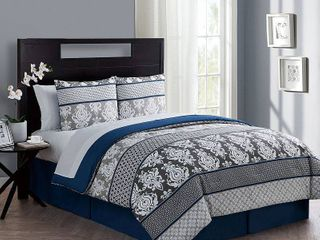 VCNY Home Beckham 6 8 Piece Damask Bed in a Bag Comforter Set  Sheet Set Included Retail Price  58 99