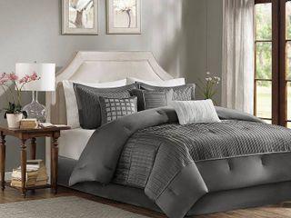 Gray Vargas Comforter Set Queen 7pc  Retails 119 99