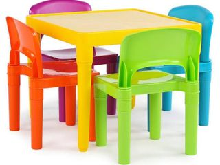 5pc Plastic Table and Chairs Vibrant   Humble Crew  MISSING a table leg and a green top of chair