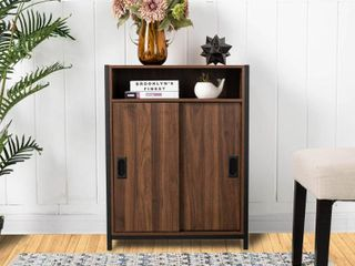 Glitzhome Floor Cabinet with Double Sliding Doors Retail Price  108 00