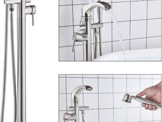 Zovajonia Freestanding Bathtub Faucet Waterfall Tub Filler Brushed Nickel Floor Mount Faucets Brass Single Handle with Hand Shower Retail price  170 00