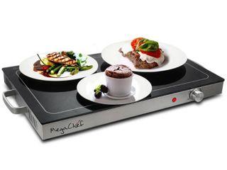 MegaChef Electric Black Warming Tray with Adjustable Temperature Controls Retails 48 29