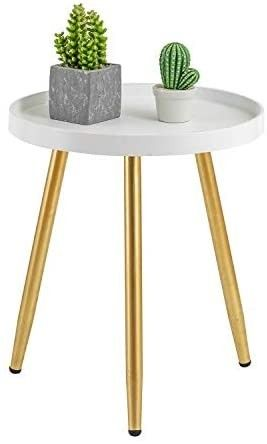 HuiDao Round Side Table Wooden Tray Table with Metal Tripod Stand Nightstand Coffee Table End Table for living Room Bedroom Office Small Spaces  18  H x 15aD  White   Gold  Retail price  35 88