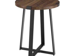18  Metal Wrap Round Side Table   Dark Walnut Retail price  106 37