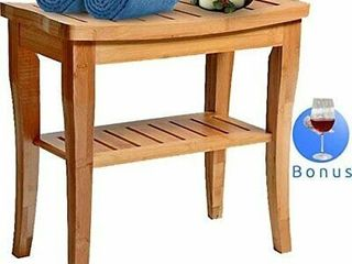 House Ur Home Bamboo Shower Bench Bath Spa Seat W  Storage shelf Organizer Stool Retail price  71 99
