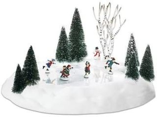 Villages Animated Skating Pond  missing the  Elves on Ice  and a snow man