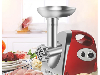ROVSUN Electric Meat Grinder  800W Stainless Steel Mincer Sausage Stuffer  Heavy Duty Food Processor with 4 Grinding Plates 3 Sausage Tubes 2 Blades   Kubbe Attachment RED  RETAIl price  56 99
