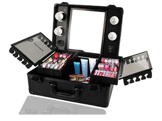 Kemier Makeup Train Case   Cosmetic Organizer Box Makeup Case with lights and Mirror   Makeup Case with Customized Dividers   large Makeup Artist Organizer Kit  Black  RETAIl price  159 99