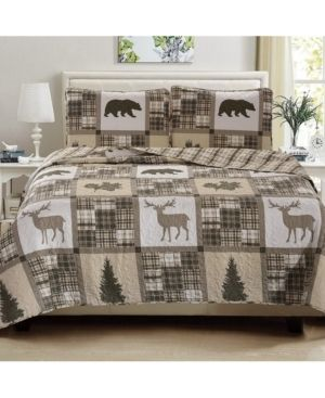 Great Bay Home Stonehurst Collection lodge Printed 3 Piece Quilt Set  Full Queen  Retails 44 99