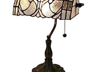 Amora lighting 13 in  White Tiffany Style Floral Banker Table lamp Retail Price  76 45
