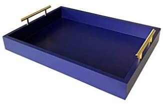 Coffee Table Tray Decor   Wood Serving Tray  Ottoman Tray  Rectangular 16 5x12 25  Polished Gold Metal Handles  Wooden Construction for Kitchen and living Room  Navy Blue