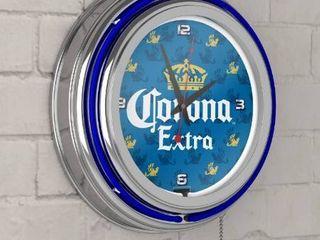 Corona Chrome Double Rung Neon Clock  Griffin Retail Price  126 99