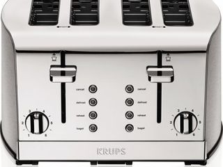 KRUPS 4 Slice Brushed and Chrome Stainless Steel Toaster  Retails 79 15