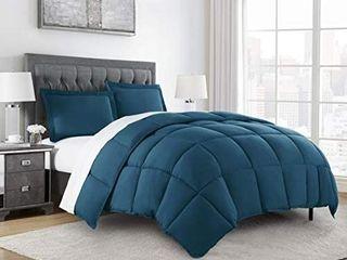 3 Piece Down Alternative Comforter Set  Oversized Queen Teal  Retails 43 99