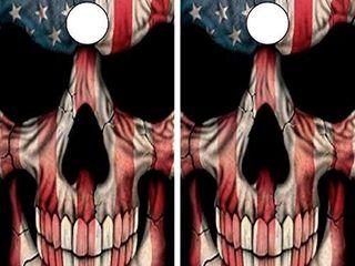 Cornhole Wrap American Flag Skull set of 2  Retails 39 94