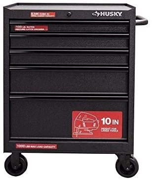 Husky 27 In  W 5 drawer Rolling Cabinet Tool Chest In Textured Black Retail   381 46