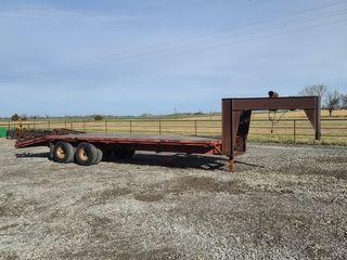 26  GN flatbed trailer  tandem duals  flip over ramps