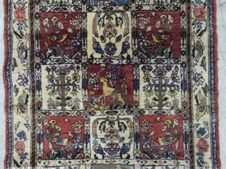 BAKHTAR HAND KNOTTED WOOl ACCENT RUG  3 2  X 4 7
