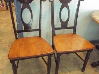 Wood chairs   2 matching