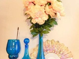 Blue Glass Vases with fan flowers