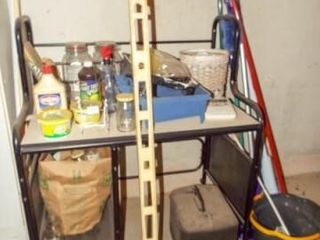 Metal Desk  Contents  Cleaning Supplies