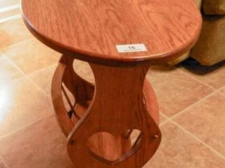 Wooden side table with hearts
