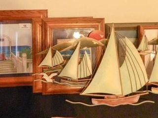 Crosstitch wall art  boats  Print