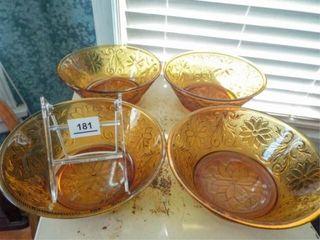 Amber Glass Serving Bowls  4