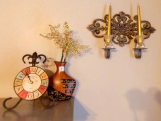 Wall sconce  vase  clock  candles