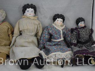 4  Porcelain china head dolls