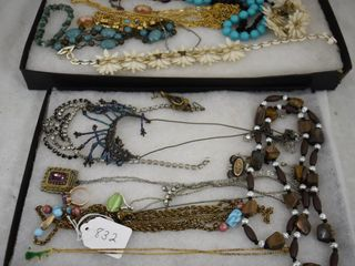 Assortment of jewelry incl  necklaces  Cameos  bracelets  etc