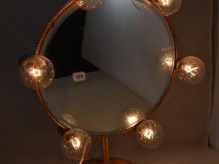 1940 s signed Jolle Art Deco giltmetal lighted make up mirror   Works