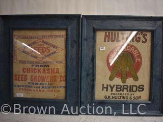 2  Framed cloth feed sacks   Chickasha  OK and Hulting s Hybrids