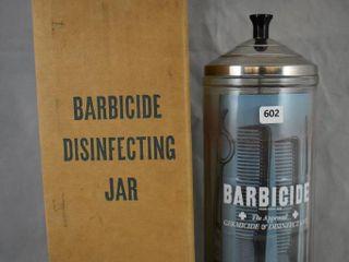 Barbicide Disinfeccting jar  original box and paperwork