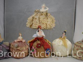 6  Porcelain half doll pin cushions